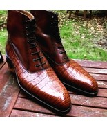Handmade Men,s Leather Boots, Formal Crocodile Texture Leather Men Brown... - $159.99+
