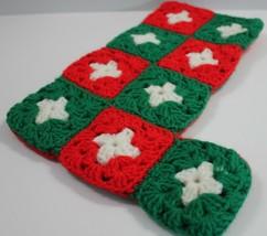 Hand Crochet Christmas Stocking Granny Squares Vintage - $9.74