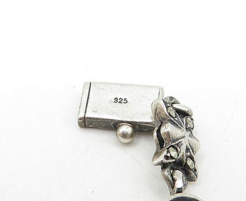 925 Silver - Vintage Black Onyx & Marcasite Butterfly Chain Bracelet  - B4616