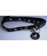 REFLECTIVE SAFETY RELEASE CAT COLLAR SKULL & CROSSBONES & PERSONALISED I... - $7.11