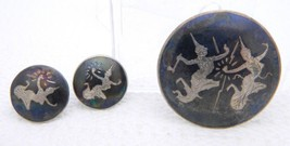 Vintage Siam Sterling Silver Niello Dancer Brooch Pin Earring Set - $49.50