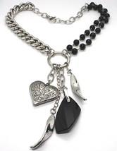 Collar Plata 925 , Doble Fila Ónix, Cadena Cadenilla, Corazón Trabajado image 1