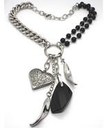 Collar Plata 925 , Doble Fila Ónix, Cadena Cadenilla, Corazón Trabajado - $343.96