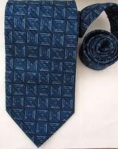 Jhane Barnes Silk Tie Blue Square Geometric Pattern Mens Necktie - $19.98