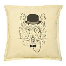 Vietsbay's Wolf Portrait Printed Khaki Decorative Throw Pillows Case VPL... - $14.39