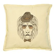 Vietsbay's Lion Portrait Printed Khaki Decorative Throw Pillows Case VPL... - $14.39