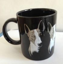 Bull Terrier Mug Spuds McKenzie Dog Roger Kibbee Black Ceramic Hand Pai... - $28.99