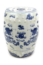 "Beautiful Vintage Style Blue and White Porcelain Garden Stool Dragon Motif 18"" - $296.99"
