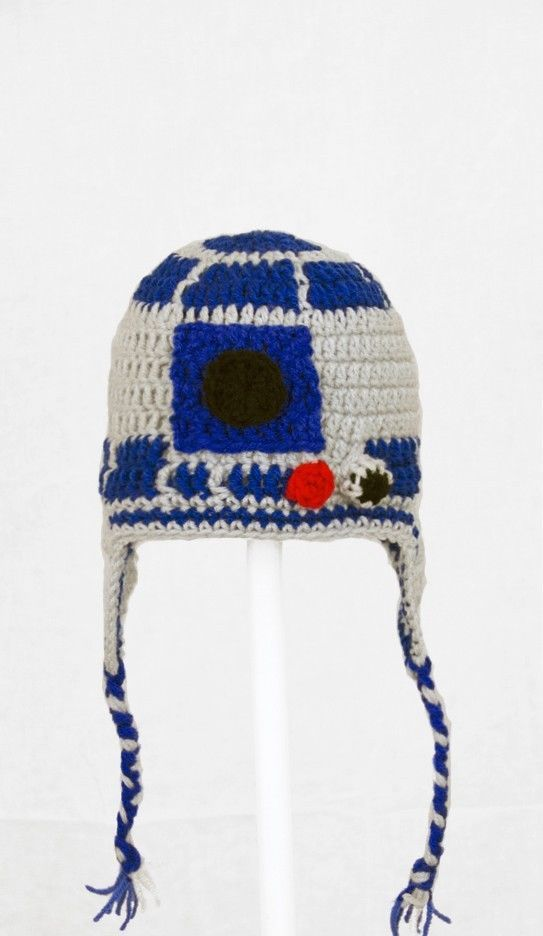 Knitting Pattern For R2d2 Hat : R2D2 Earflap Hat from Star Wars, Droid Knit / Crochet Laplander Hat baby-adul...