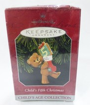 Hallmark keepsake christmas ornament child 5th christmas brown teddy bear - $10.88
