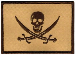 Jolly Roger Calico Jack Flag Embroidered Patch Tan Subdued Pirate Skull Iron-On - $4.99