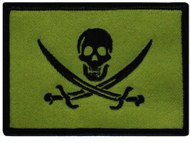 Jolly Roger Calico Jack Flag Embroidered Patch Green Subdued Pirate Skull Iro... - $4.99