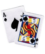 Blackjack Iron-On Patch Embroidered Ace Jack of Spades Las Vegas Playing... - $5.99
