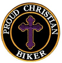 Proud Christian Biker Embroidered Patch Jesus Chris Iron-On Religious Cr... - $5.99