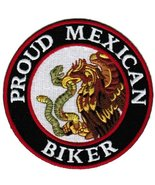 Proud Mexican Biker Embroidered Patch Mexico Flag Iron-On Motorcycle Emblem - $5.99