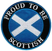 Proud To Be Scottish Embroidered Patch Scotland Flag Iron-On Biker Emblem - $5.99