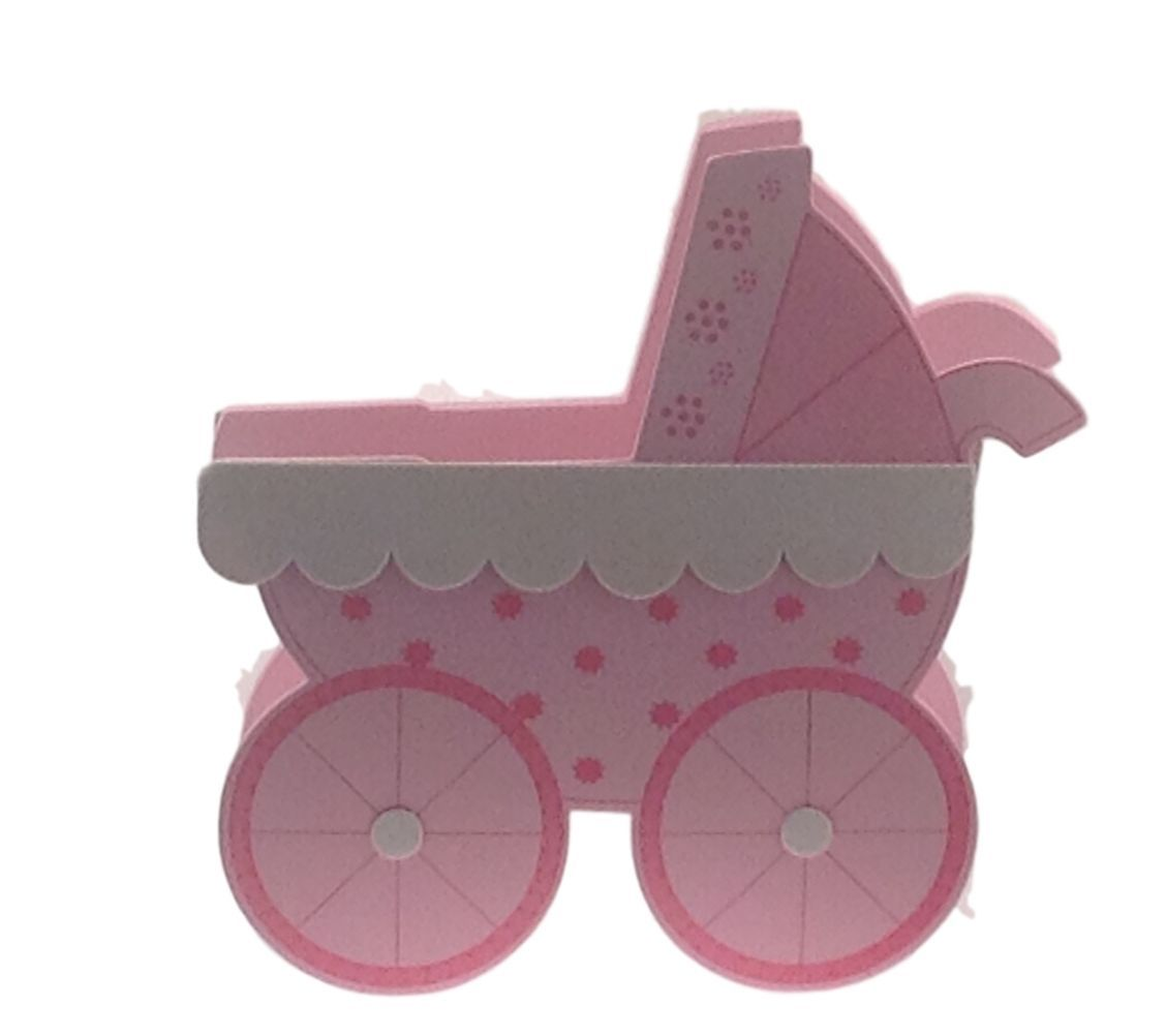 2 Pcs Pink Baby Shower Birthday Stroller Buggy Cart EVA Foam Centerpiece 6.5""