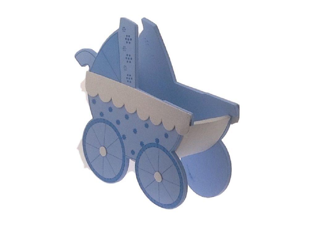 "2 Pcs Blue Baby Shower Birthday Stroller Buggy Cart EVA Foam Centerpiece 6.5"""