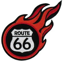 Flaming Route 66 Embroidered Patch Fire Iron-On Highway Road Sign Biker Emblem - $4.99