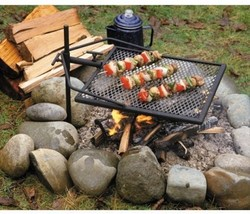 Portable Camping Grill Adjustable Camp Fire Cooking Grate Outdoor BBQ Pi... - €66,23 EUR