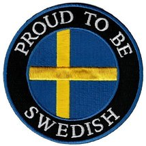 Proud To Be Swedish Embroidered Patch Sweden Flag Iron-On Biker Emblem - $5.99