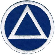 Circle Triangle Sobriety Patch Embroidiered Iron-On Sober Emblem Blue White - $4.50