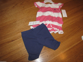 Ralph Lauren 6M 6 M baby girls 2 piece Set pink white navy 300180892kz4 ... - $23.15