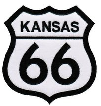 Route 66 Kansas Embroidered Patch Iron-On Highway Road Sign Biker Emblem - $4.99