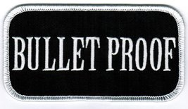 Bullet Proof Patch Embroidered Iron-On Gun Emblem Tough Guy Nametag - $4.99