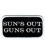 Suns Out Guns Out Patch Embroidered Iron-On Weightlifter Muscular Biceps Nametag - $4.99