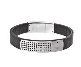 Emporio Armani EGS2004 Perforated S/Steel Logo Plaque Black Leather Brac... - $149.75