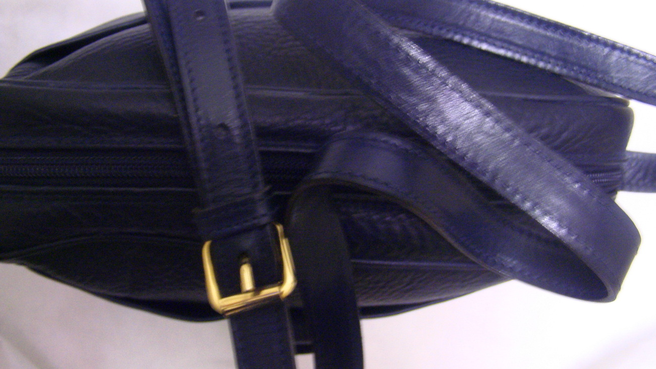 Alfa Italian Blue Zip Top All Leather Cross Body Over Shoulder Travel Bag Purse