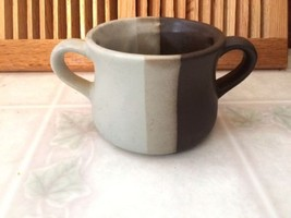 McCoy Pottery Nelson Stripe Mid Century Sugar Bowl Two Handle Brown Crea... - $13.96