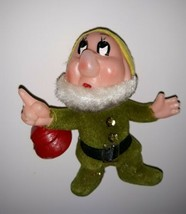 Vintage Disney Flocked Christmas Ornament DOC Snow White and the Seven Dwarfs  - $7.85