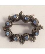Vintage Made In Austria Blue Rhinestone Pin Silvertone Brooch - $19.29