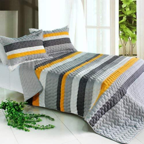 [Pure Streamline] 3PC Vermicelli-Quilted Striped Quilt Set (Full/Queen Size)