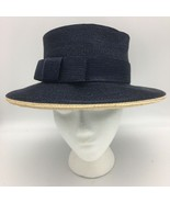 Vintage Woven Ribbon Hat Wide Brim Front Bow Navy Blue  - $29.95