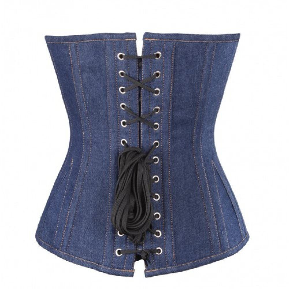Women's Blue Denim Gothic Steampunk Bustier Waist Training  Overbust Corset Top