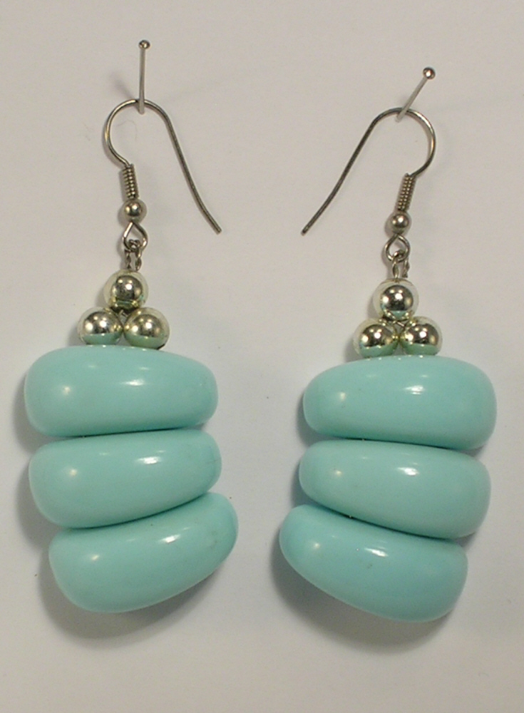 Primary image for Light Blue and Silver Colored Metal Beads Pierced Earrings with French Wires