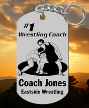 WRESTLING Coach Keychain Gift, Personalized FREE with Name and Team, Cus... - $9.95