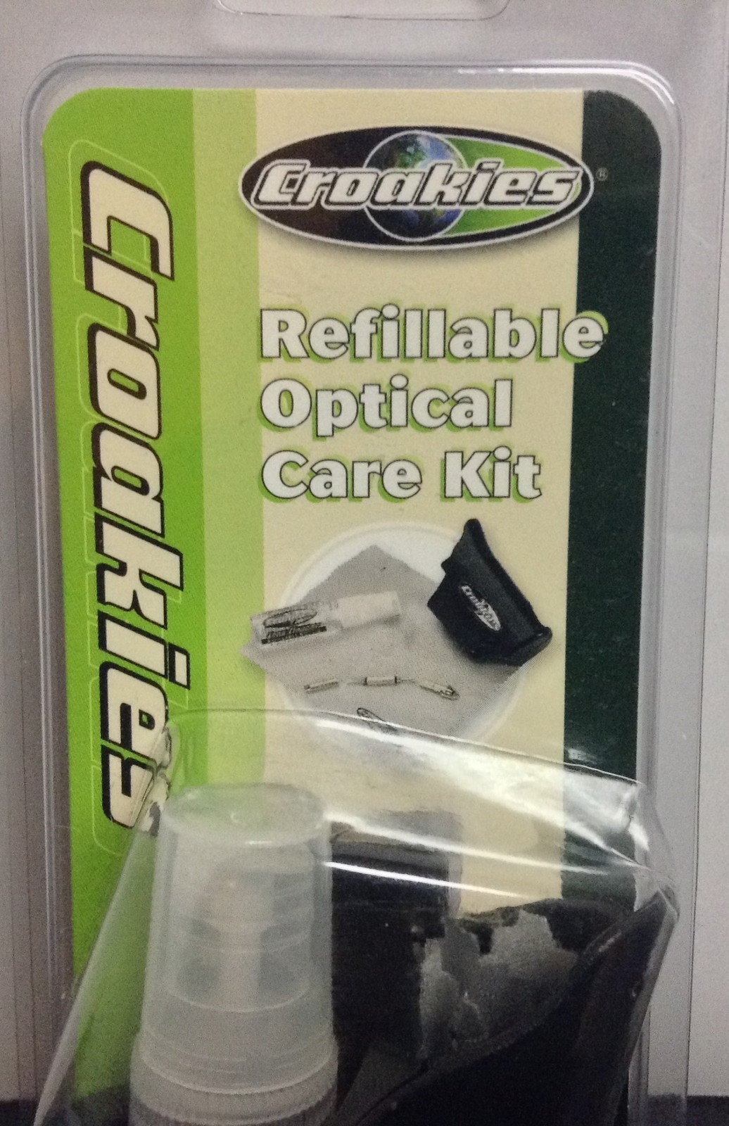 Croakies Refillable Optical Care Kit Chevron Pipe Line NWT Pocket Clip