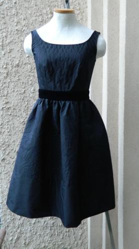 Prada Dress Black Cocktail Popeline Stitched Print Pouffy Skirt NWT $2640 38