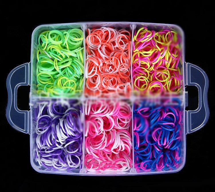 Rainbow color rubber band bracelet gift box Small weaving machines Knitting Toys