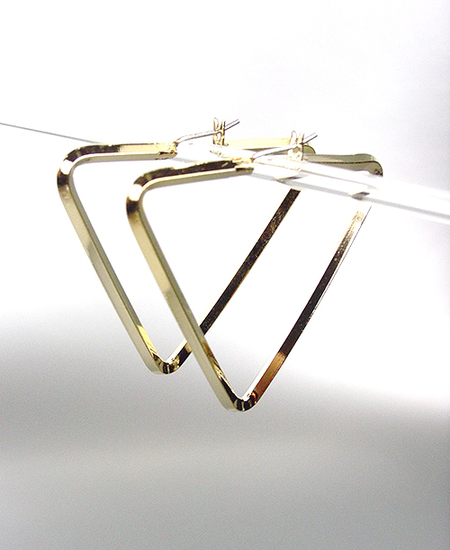 """CHIC & UNIQUE Thin GOLD Metal Triangle 1 3/4"""" Hoop Post Earrings - $12.99"""