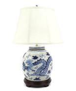 Vintage Style Blue and White Dragon Motif Porcelain Ginger Jar Table Lam... - $247.49