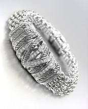 STUNNING Silver Cables CZ Crystals Medallion Metal Mesh Magnetic Bracelet - $42.99
