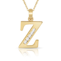"""14K Solid Yellow Gold Block Initial """"Z"""" Letter Charm Pendant & Necklace - $53.05+"""