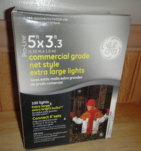 GE Proline Commercial Grade 5'x3' Net Style Lights 100 Clear Holidays Li... - $11.55