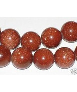 8mm Goldstone Round Beads (50+/- per strand) Sparkly! - $3.92