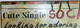"Classic ""Cute Single Sock"" Antique Style Wall Art Sign Home Decor - $14.00"